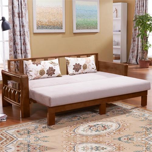 岭林 全实木沙发床 推拉 902中式客厅家具 懒人沙发 小户型沙发柚木色