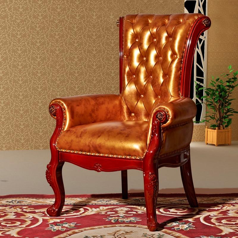 美式乡村 樱桃木 全实木 老板椅 沙发椅子 真皮椅子 亮光烤漆