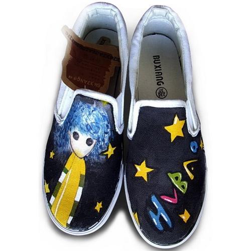 绘宝 手绘帆布鞋 创意手绘鞋 星星女孩 s-dw8089