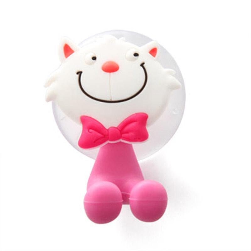 简家 创意可爱卡通动物家族强力吸盘牙膏牙刷架款式可选k1075_小猫
