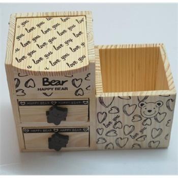 与同 笔筒 可爱小熊 双层抽屉木制收纳盒 笔筒 礼品
