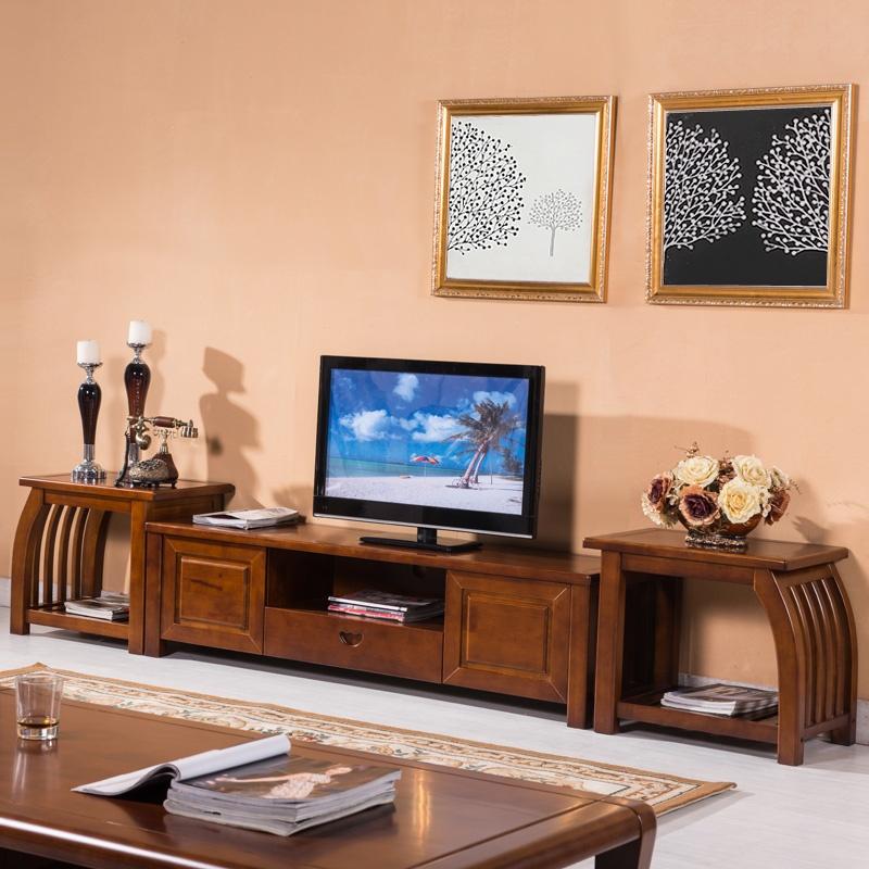 岭林中式客厅实木沙发 卡斯拉实木t216电视柜中地柜边几组合柜 预售图片