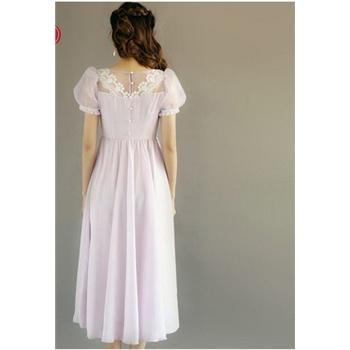 紫色泡泡袖连衣裙欧式复古2014原创v领修身