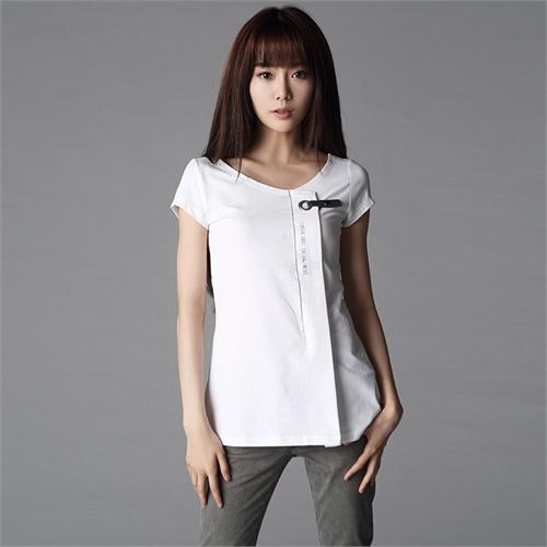 sdeer圣迪奥专柜正品 简约设计感女士t恤4280156_白色