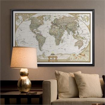 地图英文版 复古大尺寸壁画墙画挂画无框画书房客厅