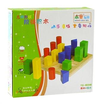 【益儿益 正品】木童 几何圆柱体阶梯积木 木制大块积木玩具 宝宝儿童