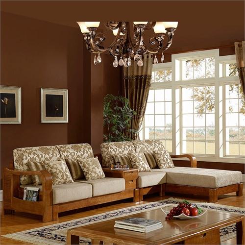 岭林 全实木沙发组合 k822中式客厅家具实木 白蜡木沙发 实木布艺沙发