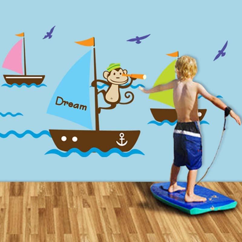 墙贴 客厅卧室背景大面积可移除墙贴 儿童房 卡通壁纸 墙纸 帆船st88