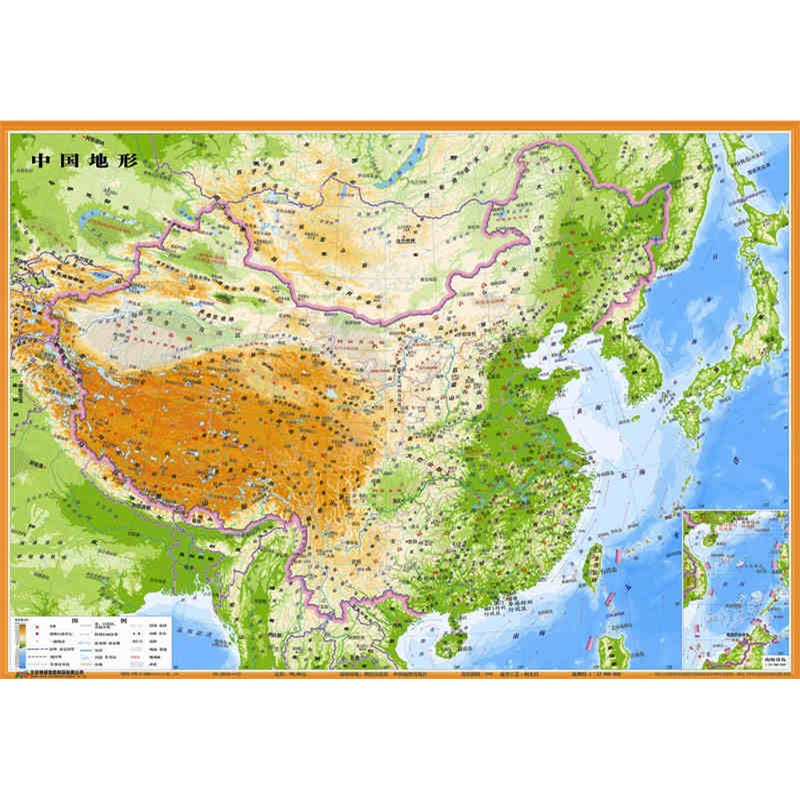 中国地形图 立体凹凸地势地貌地图 54x37cm 三维立体效果 凹凸地图