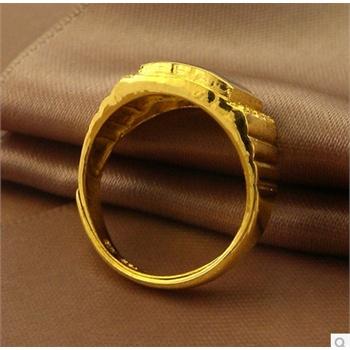 金太福 999千足金黄金男士戒指 蓝宝石黄金戒指 结婚简约时尚-曼都