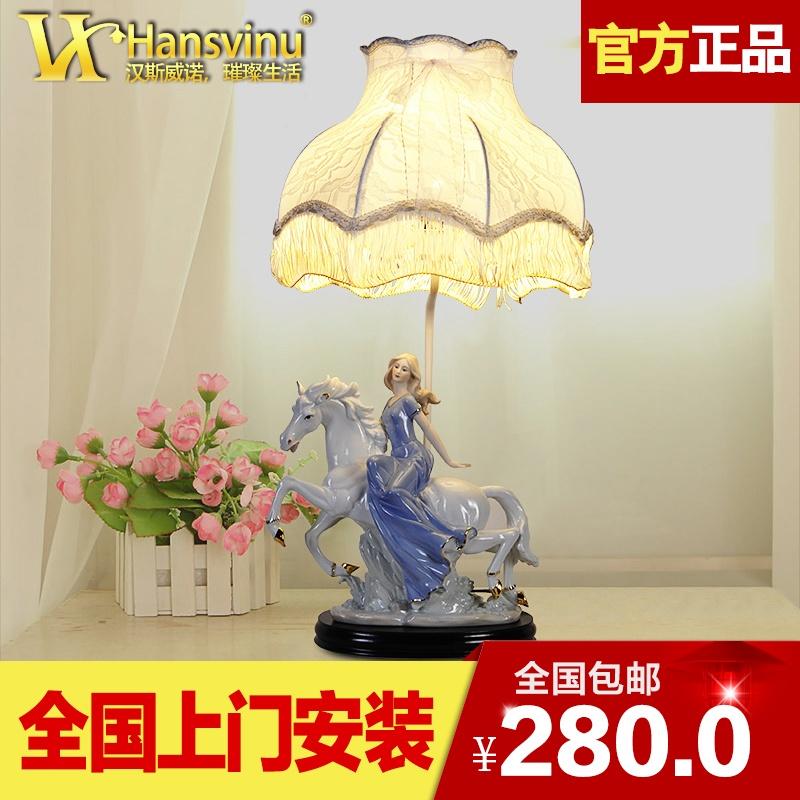 欧式卧室床头台灯陶瓷手工清新布艺烤漆小台灯