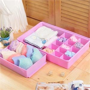 仁璟 魅之优品 双层抽屉型 塑料文胸内衣收纳盒 储物盒收纳箱 紫色