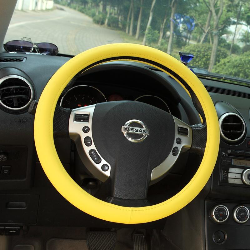 七格格 汽车方向盘套 汽车女性可爱把套标致天籁新赛欧凯美瑞 _黄色