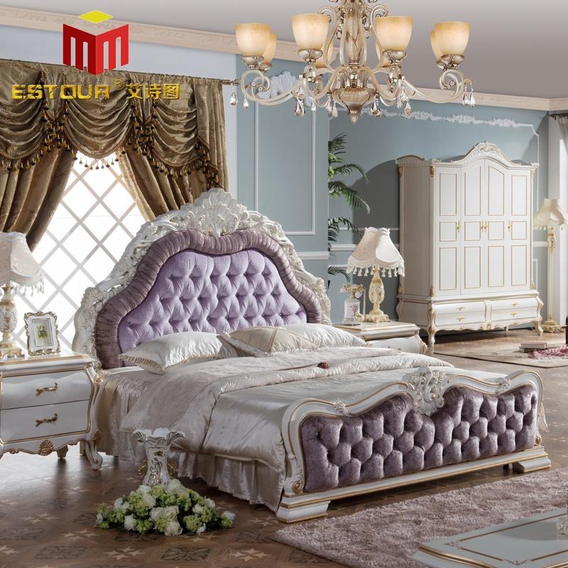 艾诗图 欧式卧室双人床 高档绒布 雕花描金 奢华大气 结婚必备 e--870