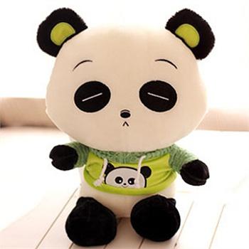 特价优质女朋友最佳礼品可爱表情熊猫公仔 毛绒玩具穿衣熊猫宝宝_眯眼