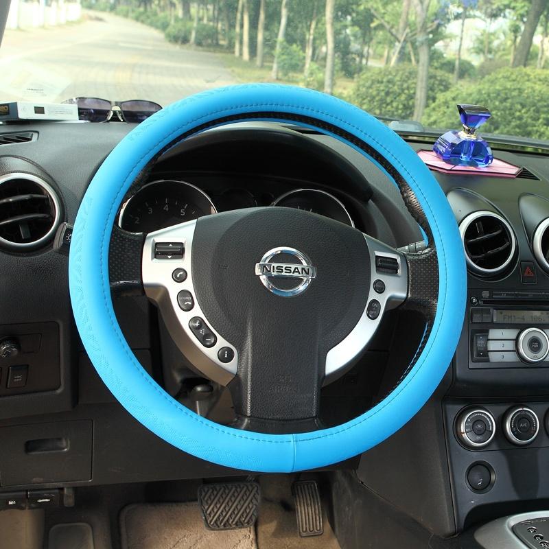 七格格 汽车方向盘套 汽车女性可爱把套标致天籁新赛欧凯美瑞 _蓝色