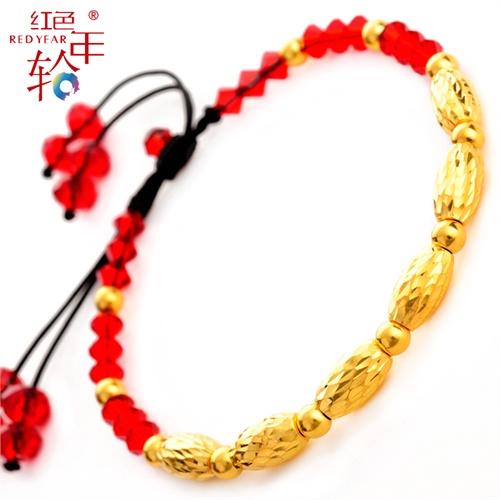 红色年轮 本命年红绳黄金手链 千足金 转运珠 路路通金珠新款手链