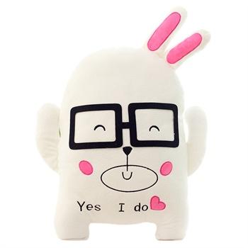 爱满屋 可爱眼镜情侣爱情小兔子毛绒玩具公仔靠垫抱枕情人节创意表白