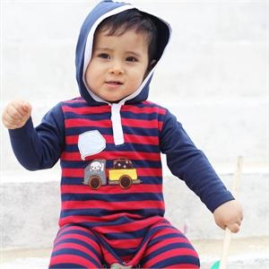 爱爱我(kidslove)男宝带帽长袖爬服婴儿连体衣纯棉春秋款59/66cm尺码可选【货到付款】