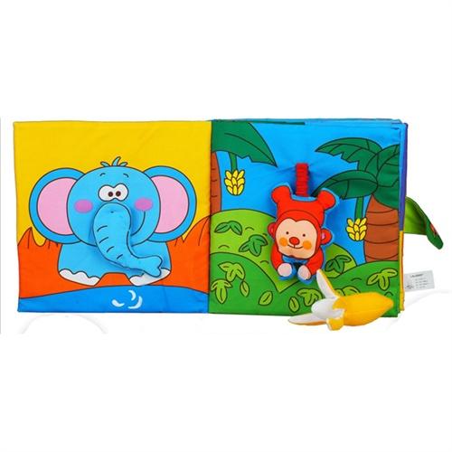 拉拉布书认知-动物世界布制玩具儿童布书