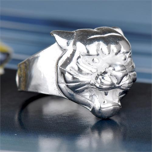 相思树 男士戒指霸气个性粗狂虎头戒 990纯银exo戒指