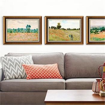 莫奈郊游客厅挂画沙发背景墙画大师壁画欧式床头油画
