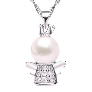 seatle西雅图 925纯银珍珠守护天使福星吊坠 赠纯银项链