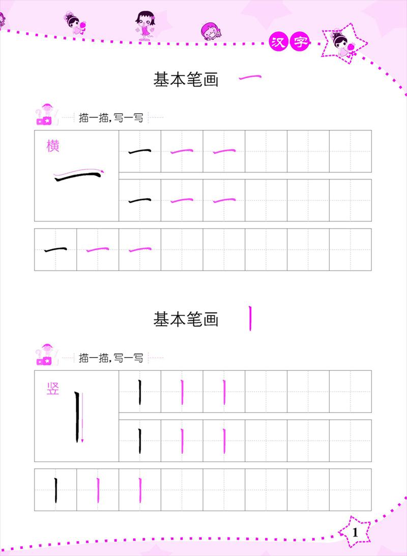 正文:20个基本笔画,运笔走势,描红加书写,21个基本部首的描红书写和例