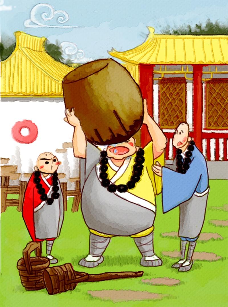 中国传统故事美绘本--三个和尚图片