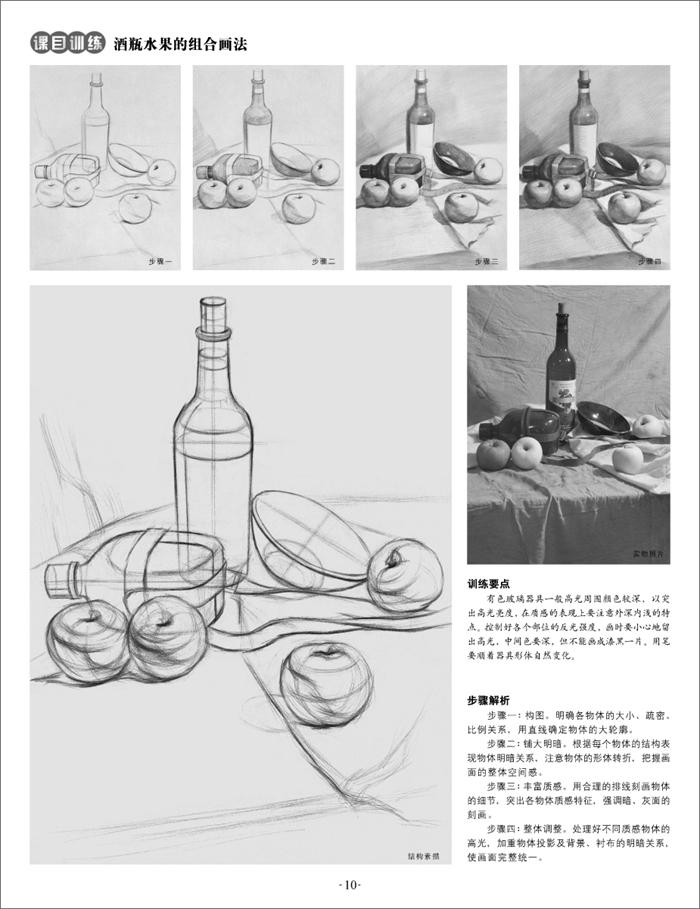 素描静物-实物照片 步骤解析 训练要点-临摹本 9787539861371 安徽