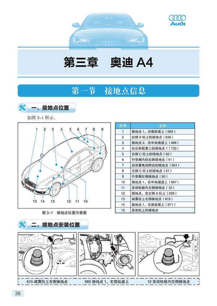 奥迪汽车电路维修速查手册:熔断器 继电器 电控单元 轩浩