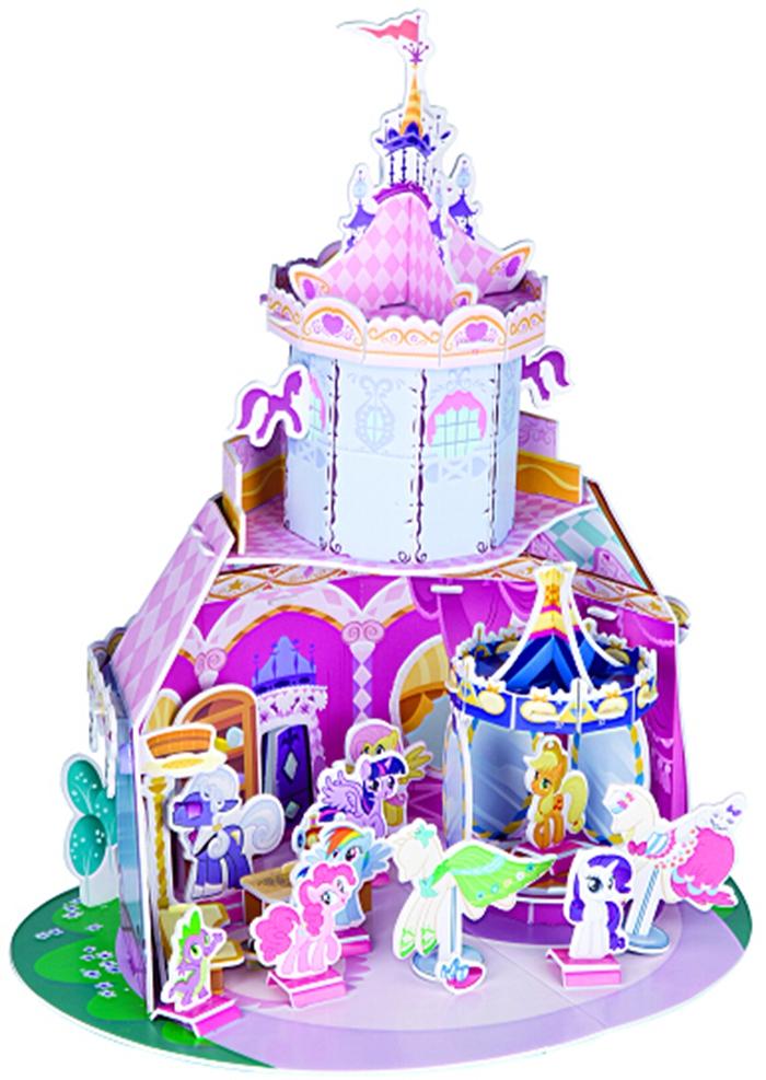 小马宝莉梦幻立体世界 旋转木马时装店 《小马宝莉梦幻立体世界》(2册)是一套3-8岁喜爱小马宝莉的小朋友梦寐以求的拼插手工。 《小马宝莉梦幻立体世界》素材形象唯美,颜色靓丽,给小马宝莉迷带来震撼的视觉体验。不用剪刀和胶水,根据焖切的线条,小朋友就可以将拼块从拼板上取下来,再根据上面的提示数字和效果图完成拼插,既安全又可以锻炼孩子的空间想象能力和动手操作能力。