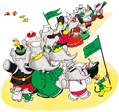儿童卡通汽球小象壁画矢量图
