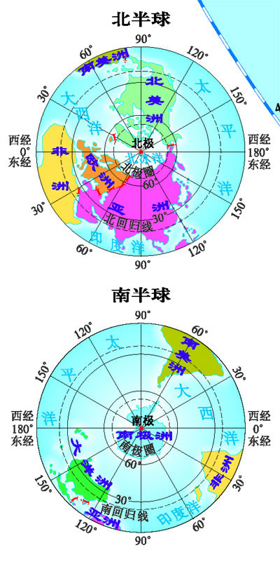 北极与南极地图