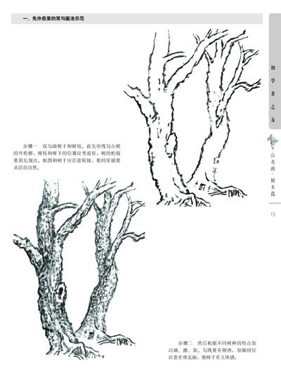 一笔画法示范树叶的画法; 初学者之友—山水画 树木篇;