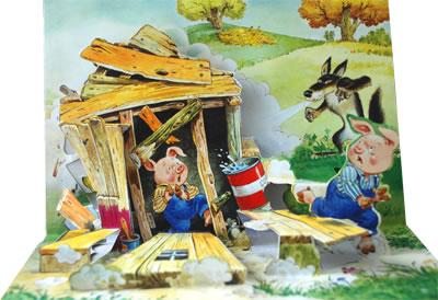 三只小豬蓋房子 插畫